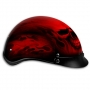 Flaming Red Skull Design Shorty Helmet