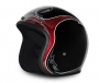 Gloss Black & Cherry Pinstripe USA Old School Open Face Helmet
