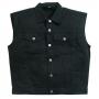 NEW-Vintage-Retro-Cut-Off-Sleeveless-Black Denim-Waistcoat